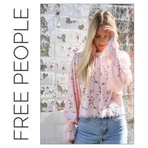 Free People Pink Olivia Lace Balloon Sleeve Top